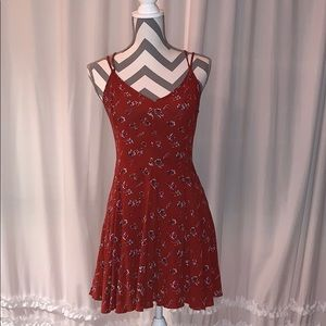 Red floral American eagle sundress